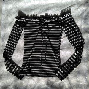 Black and White Stripe Long Tee